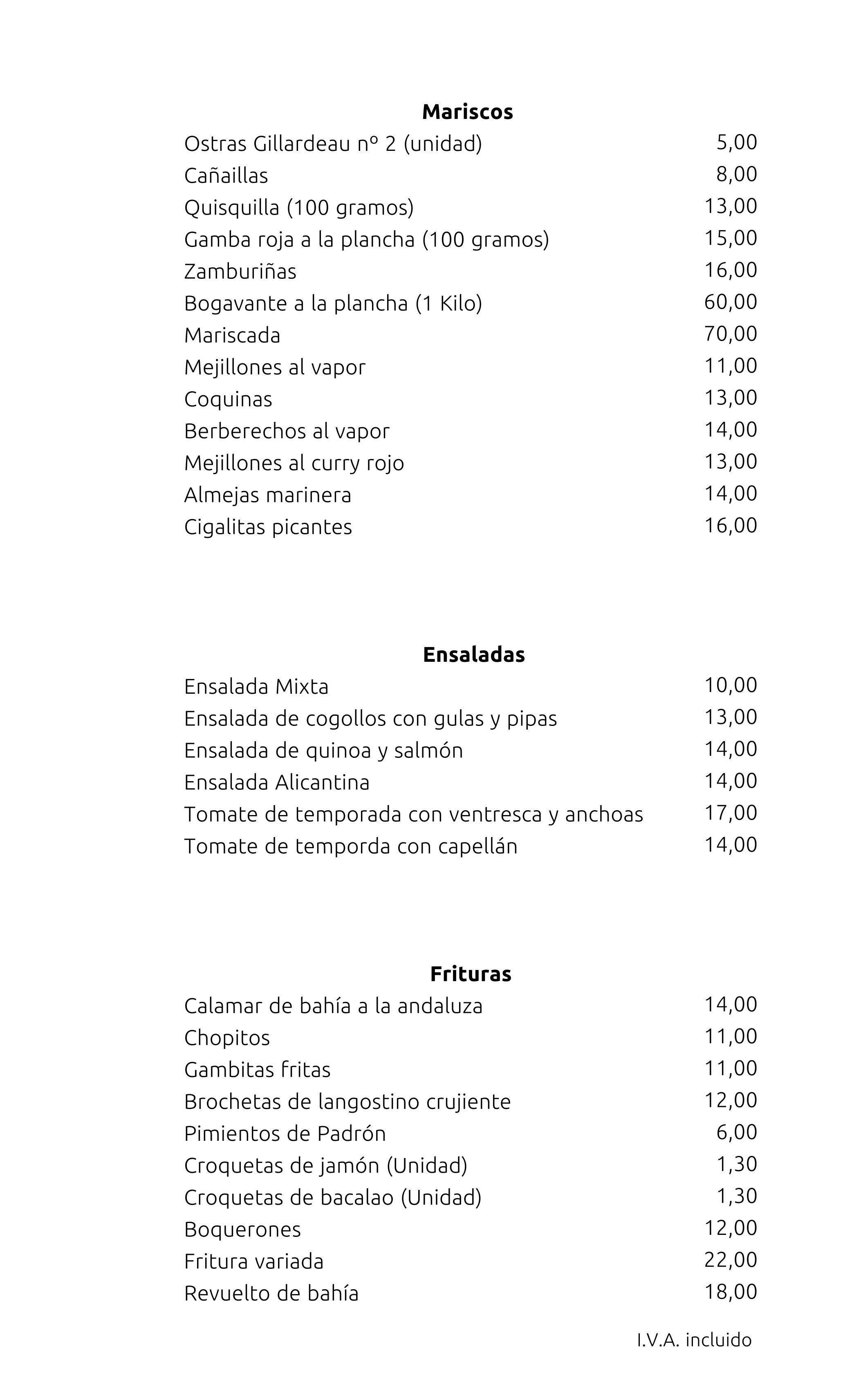 Restaurante Casa Julio · Carta
